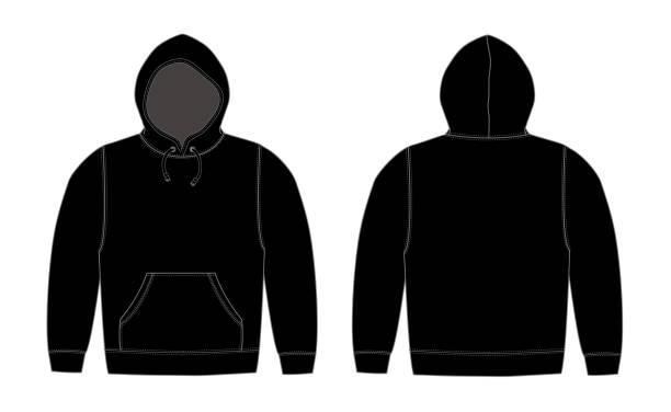 illustration der hoodie (sweatshirt mit kapuze) / schwarz - parkas stock-grafiken, -clipart, -cartoons und -symbole