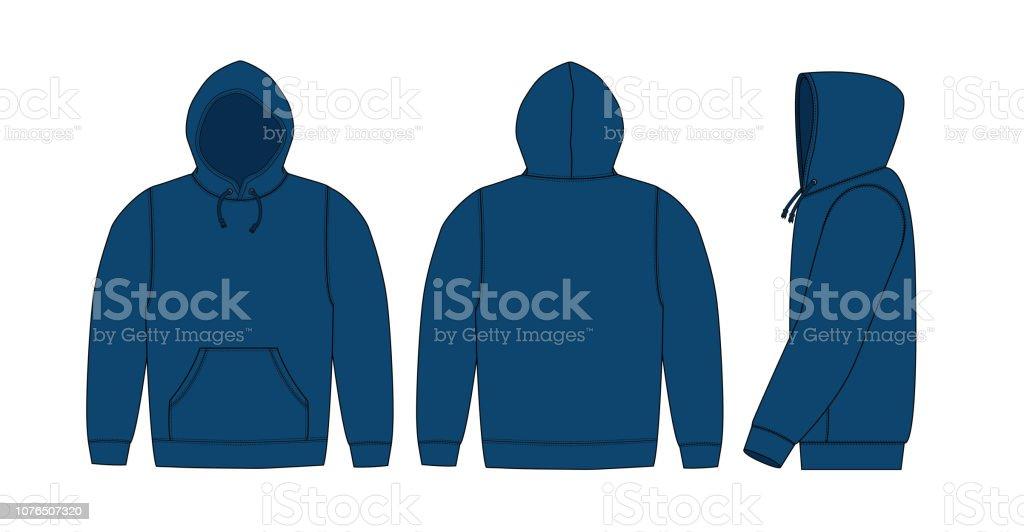 Illustration of hoodie (hooded sweatshirt) / blue vector art illustration