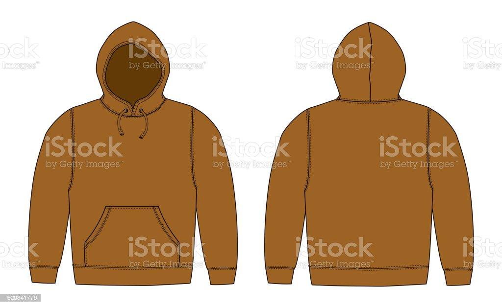 Illustration of hoodie (hooded sweatshirt) / brown vector art illustration