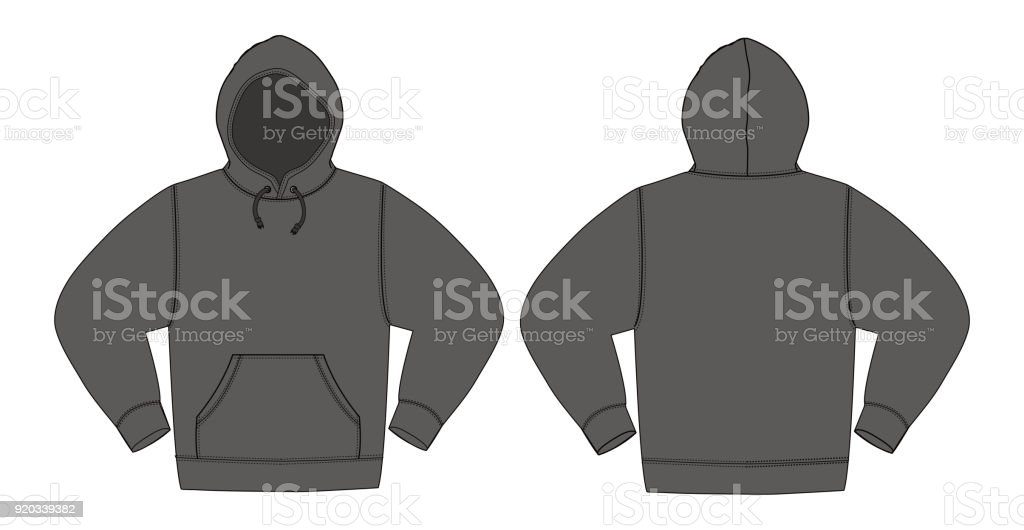 Illustration of hoodie (hooded sweatshirt) /charcoal color vector art illustration