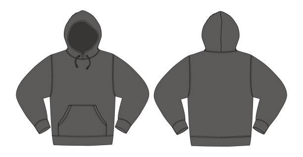 illustration der hoodie (sweatshirt mit kapuze) / kohle-farbe - parkas stock-grafiken, -clipart, -cartoons und -symbole