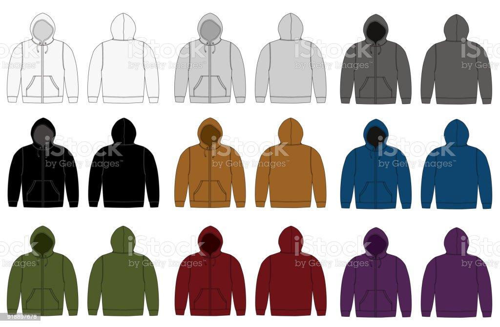 Illustration of hoodie (hooded sweatshirt) / color variation set vector art illustration