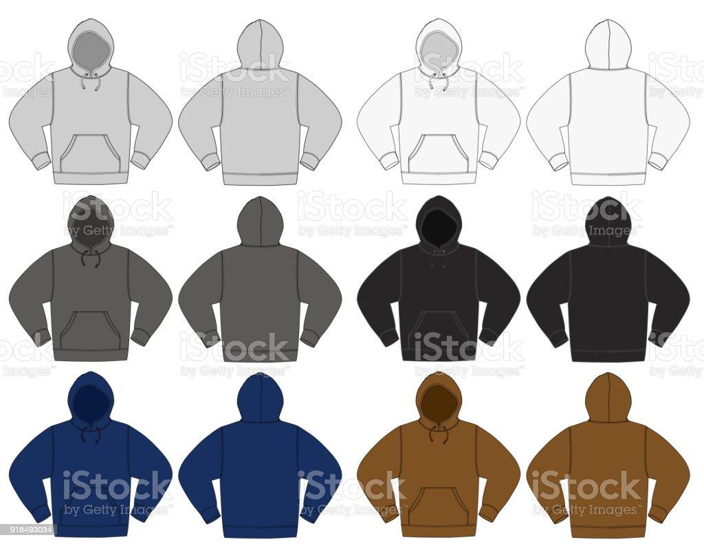 Illustration of hoodie (hooded sweatshirt) / color variations vector art illustration