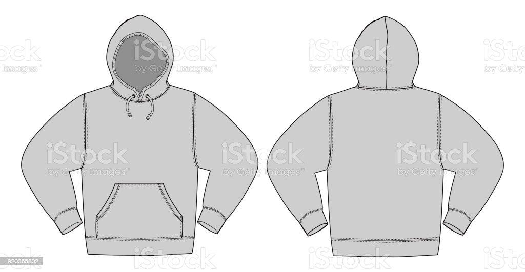 Illustration of hoodie (hooded sweatshirt) / Gray color vector art illustration