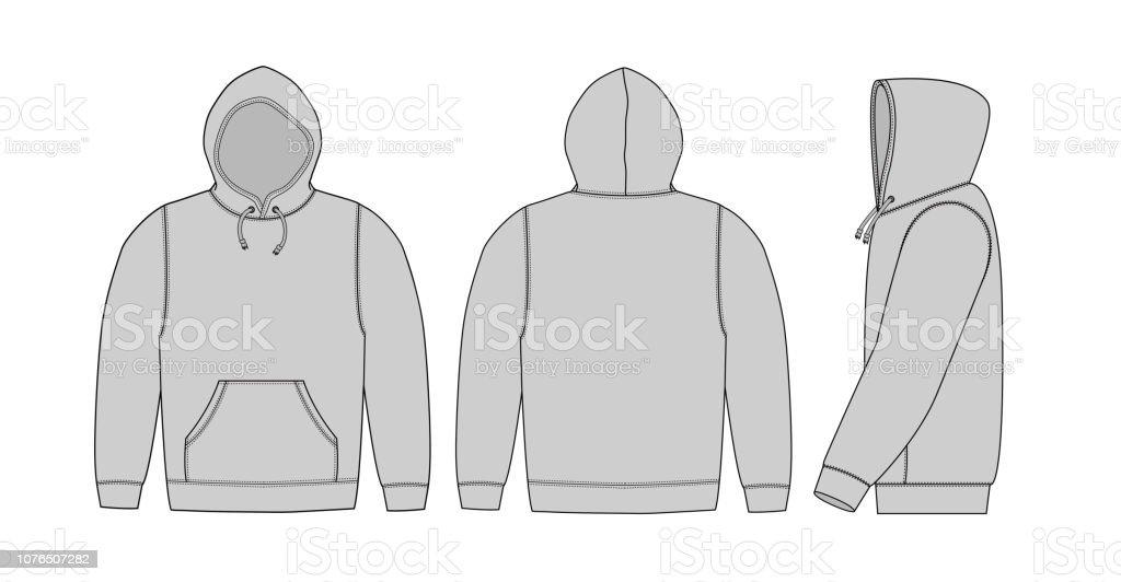Illustration of hoodie (hooded sweatshirt) / gray vector art illustration