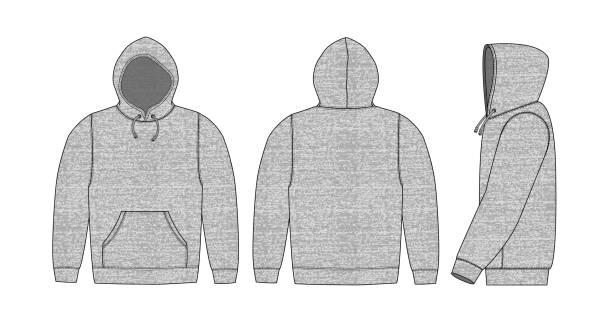 abbildung von hoodie (kapuzen-sweatshirt) / heidegrau (vorne, hinten, seitlich) - parkas stock-grafiken, -clipart, -cartoons und -symbole