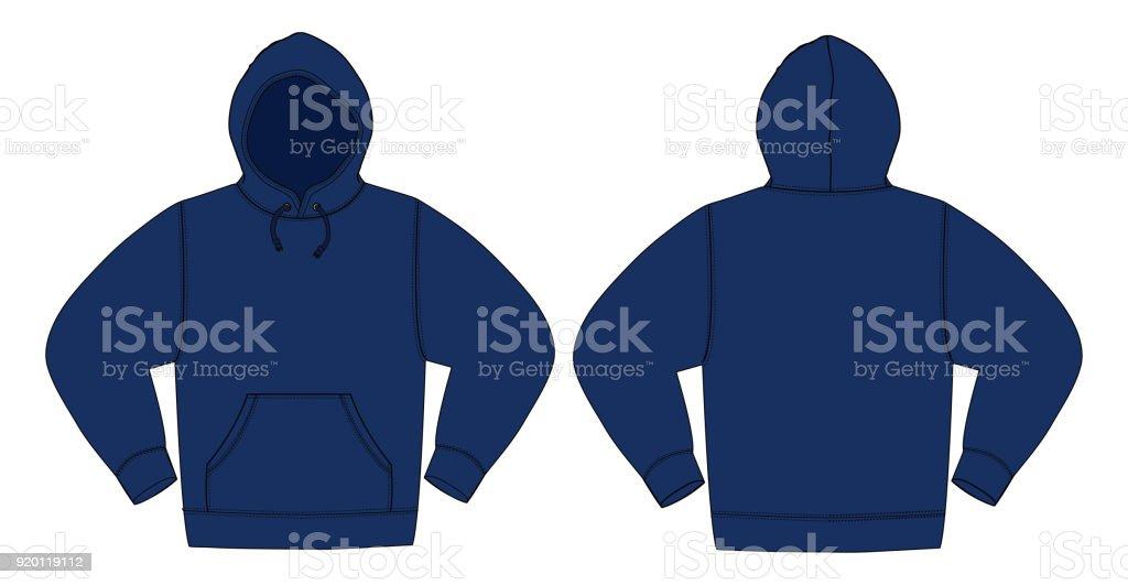 Illustration of hoodie (hooded sweatshirt) / Navy color vector art illustration