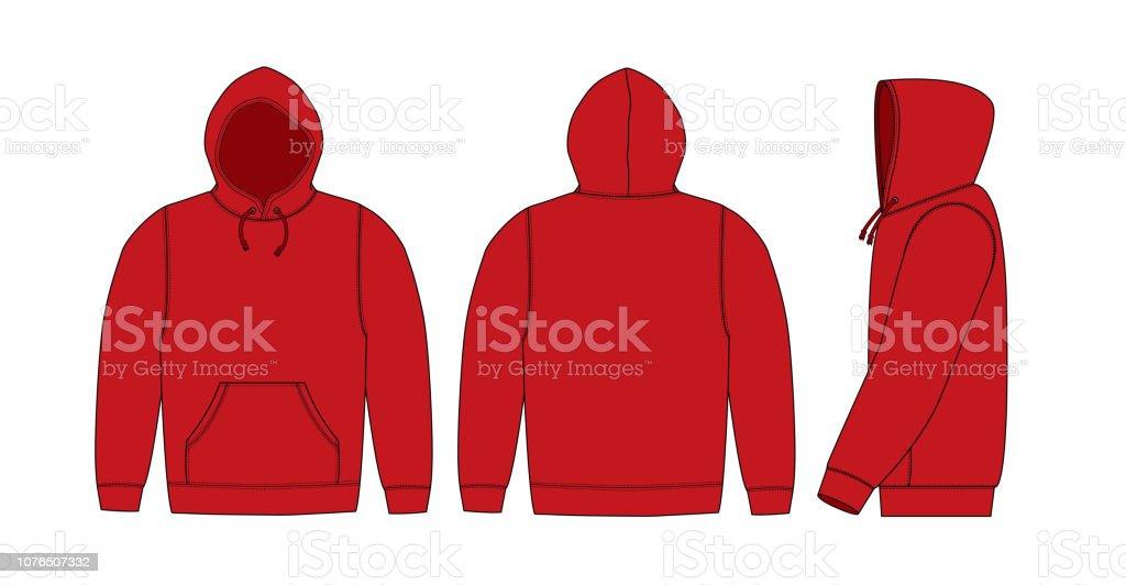 Illustration of hoodie (hooded sweatshirt) / red vector art illustration