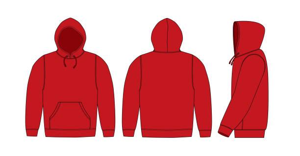 illustration der hoodie (sweatshirt mit kapuze) / rot - parkas stock-grafiken, -clipart, -cartoons und -symbole