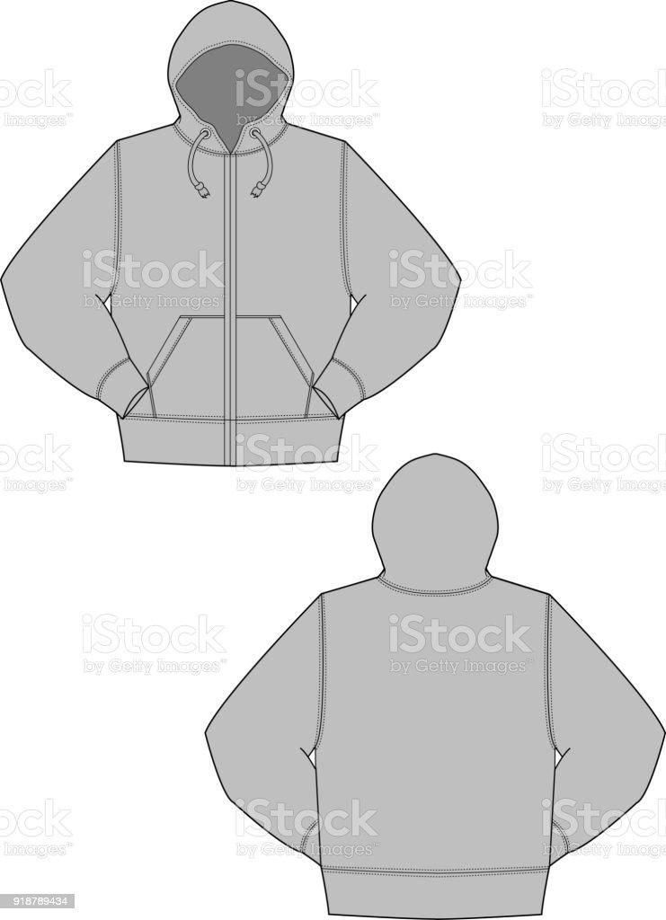Illustration of hoodie (hooded sweatshirt) vector art illustration