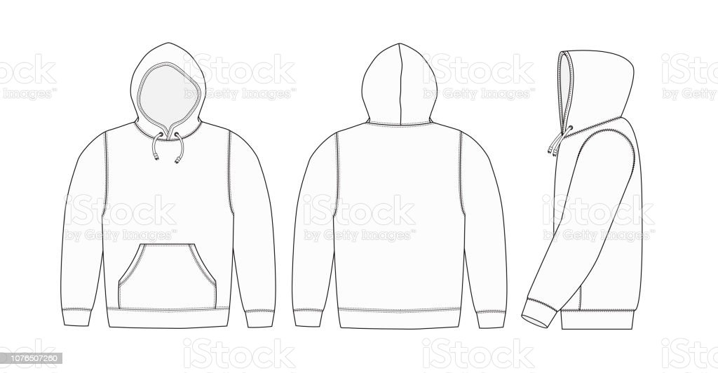 Illustration of hoodie (hooded sweatshirt) / white vector art illustration