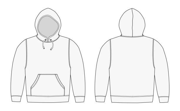 illustration der hoodie (sweatshirt mit kapuze) / weiß - parkas stock-grafiken, -clipart, -cartoons und -symbole