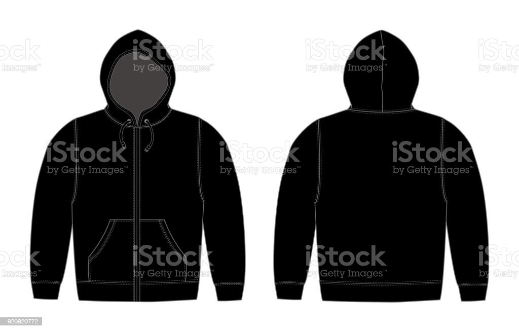 Illustration of hoodie (hooded sweatshirt) , zip up parka / black vector art illustration