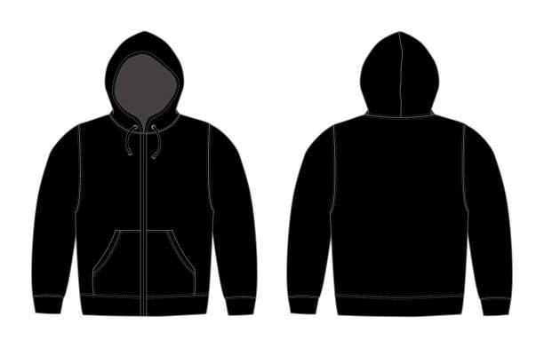 illustration der hoodie (sweatshirt mit kapuze), zip-up parka / schwarz - parkas stock-grafiken, -clipart, -cartoons und -symbole