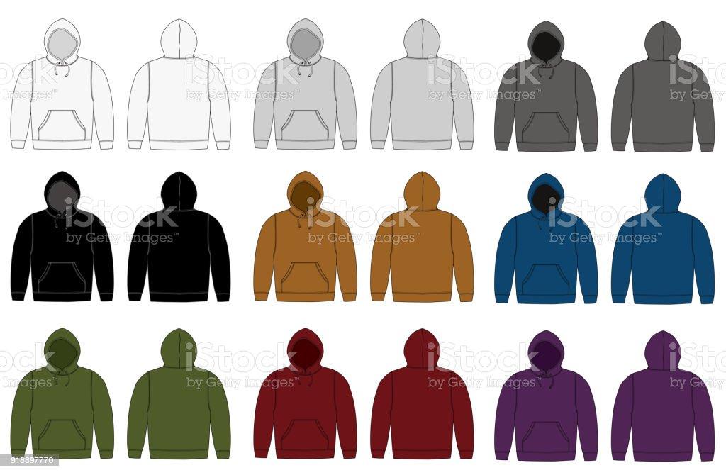 Illustration of hoodie (hooded sweatshirt) , zip up parka / color variation vector art illustration