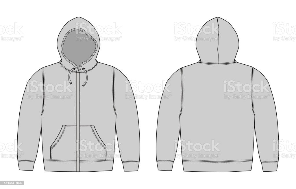 Illustration of hoodie (hooded sweatshirt) , zip up parka / gray vector art illustration