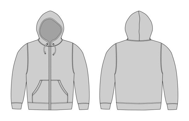 illustration der hoodie (sweatshirt mit kapuze), zip-up parka / grau - parkas stock-grafiken, -clipart, -cartoons und -symbole