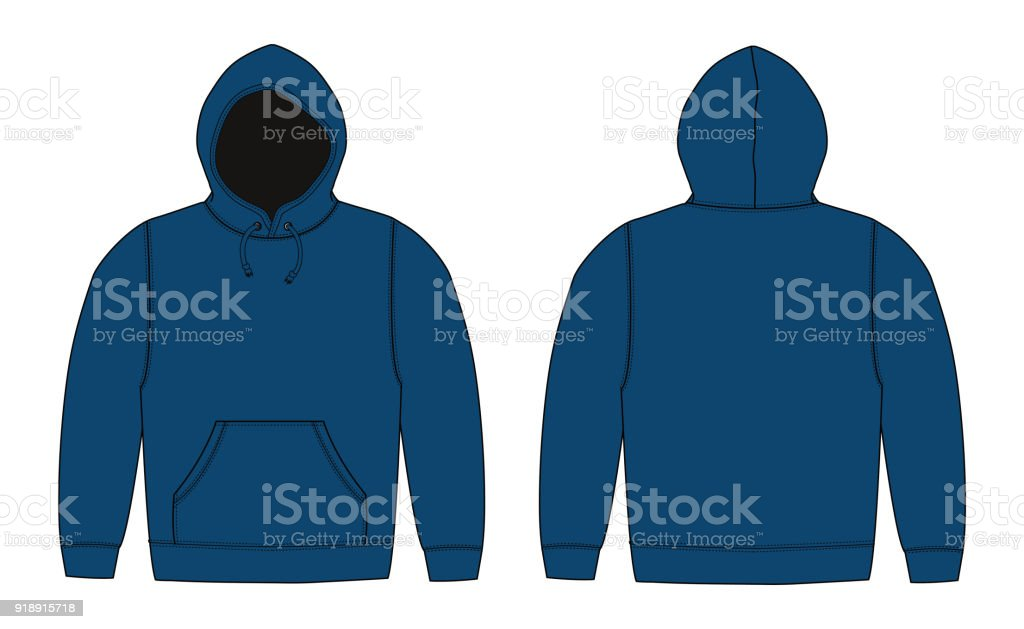 Illustration of hoodie (hooded sweatshirt) , zip up parka / navy blue vector art illustration