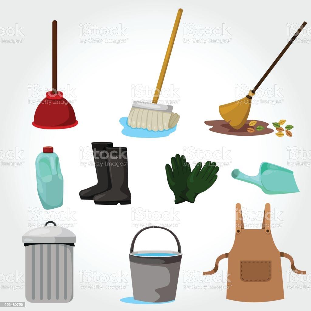 家の掃除道具のイラスト - 21世紀のベクターアート素材や画像を多数ご