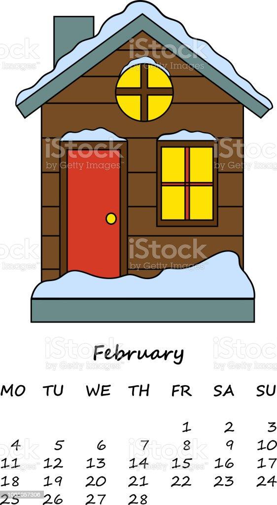 ベクターの家のイラストかわいい漫画のデザインカードカレンダーの