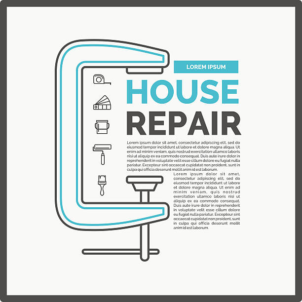 illustration of house repair with tools and clamp - hausfarbpaletten stock-grafiken, -clipart, -cartoons und -symbole