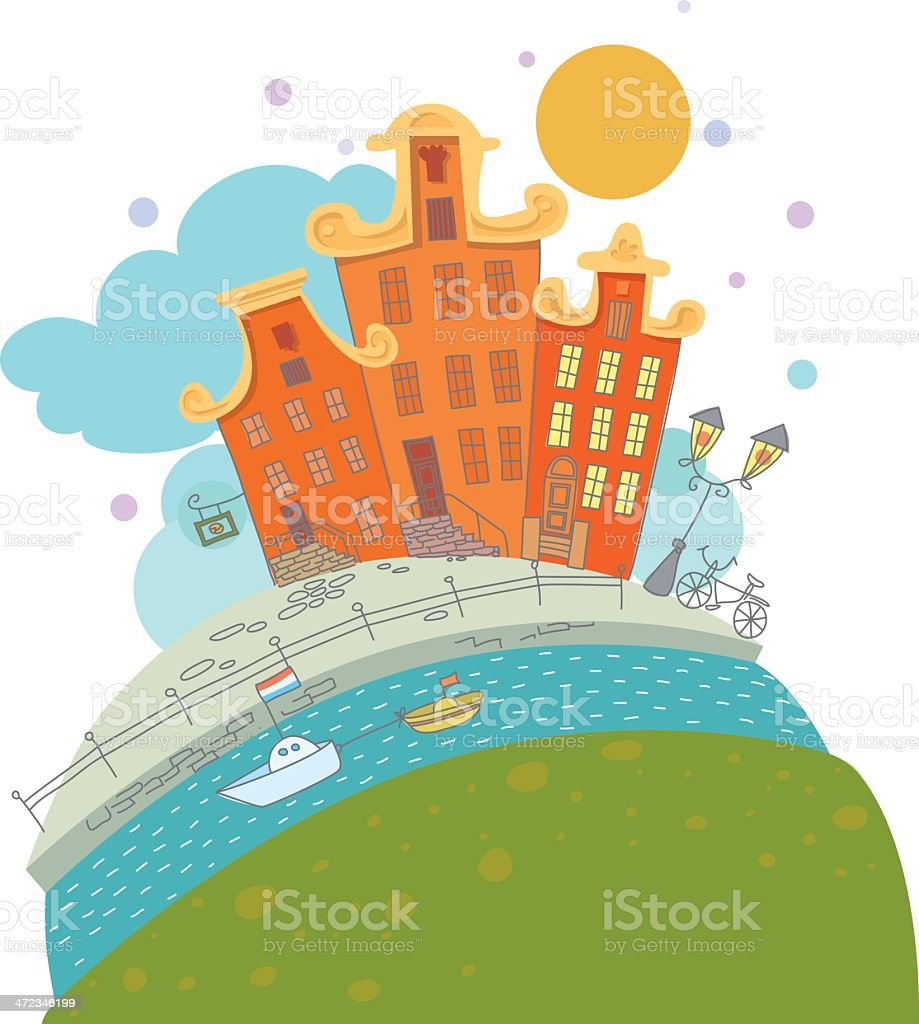 Illustration of houses on a canal in Amsterdam royalty-free stock vector art
