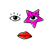 Illustration of human eyes. Vector. The look is directed to the viewer. An image of a pop star. Red star as a make-up on the face. Fashionable image for t-shirt.