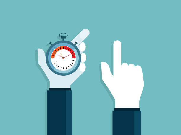 illustration of human hands holding stopwatch and pointing vector art illustration