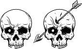 Illustration of human skull with arrow in head. Design element for label, sign, emblem, poster. Vector illustration
