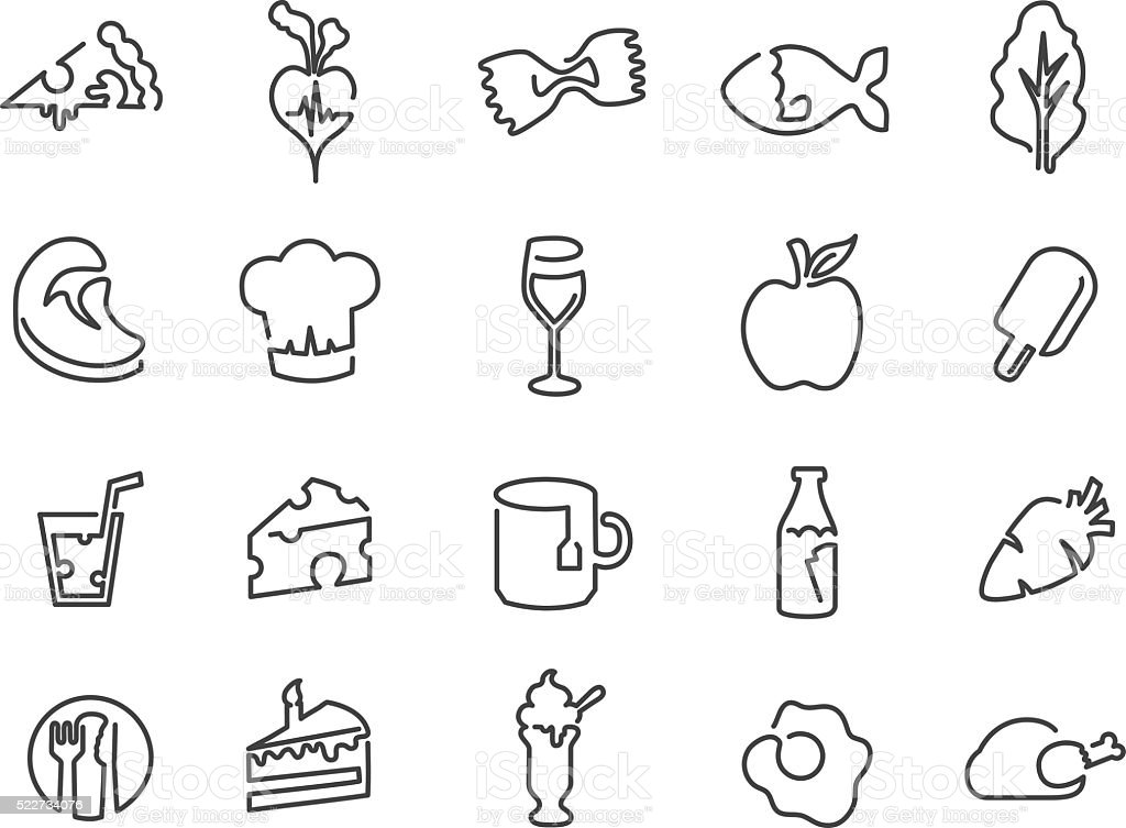 Illustration Of Icons Related To Food Drink And Diet Stock