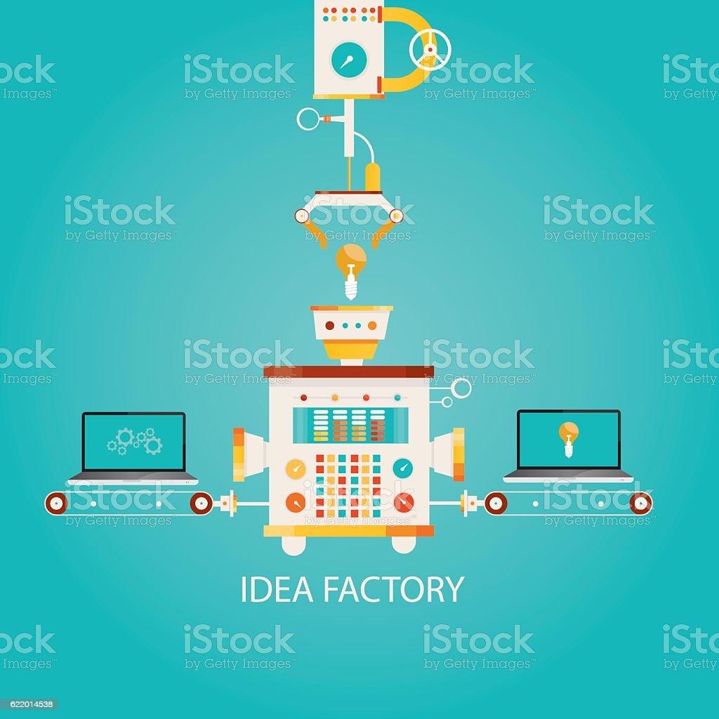 illustration of idea factory. - ilustração de arte em vetor