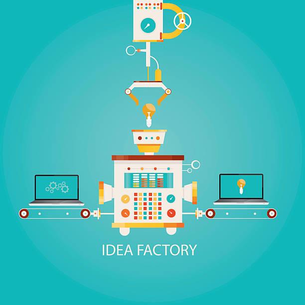illustration of idea factory. - machine stock illustrations, clip art, cartoons, & icons
