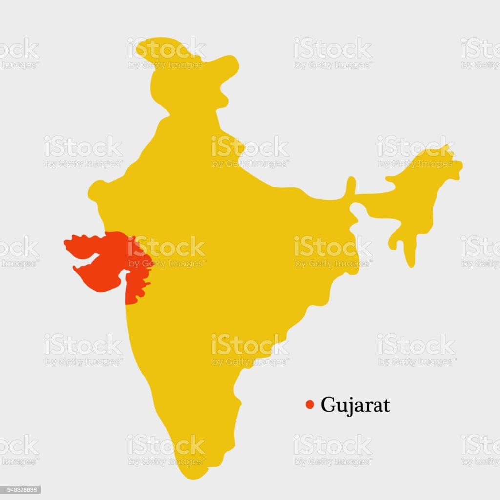 Ilustración de Ilustración De Mapa De India Con Estado Indio Gujarat ...