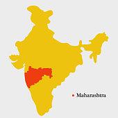 Illustration of India map showing Indian State Maharashtra