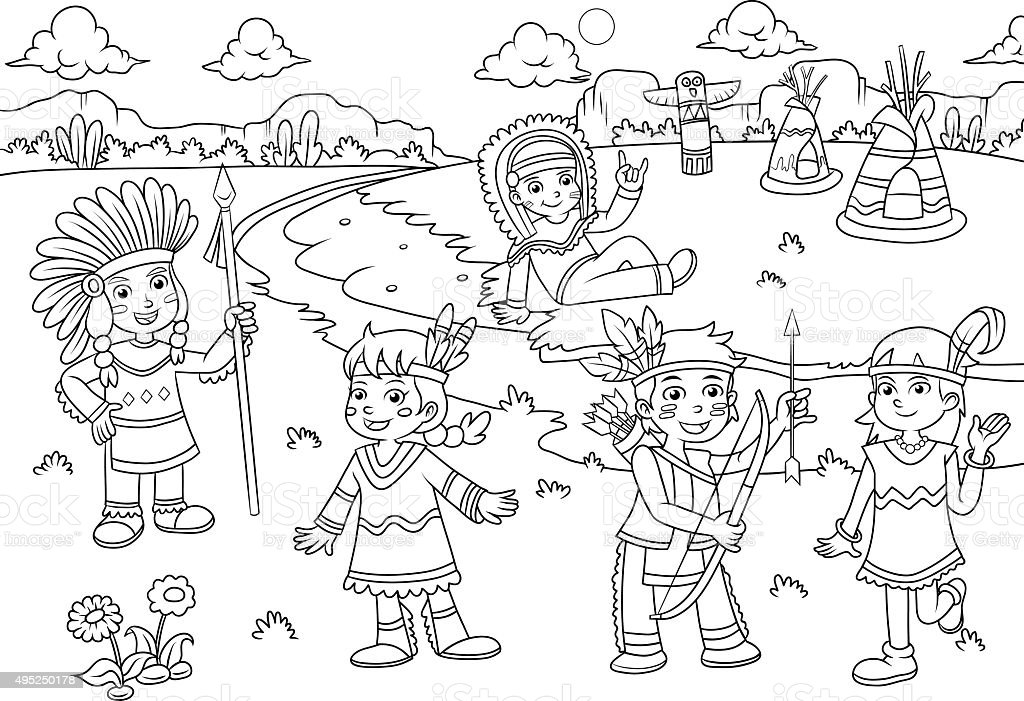 Ilustración De Dibujos Animados De La India Para Colorear Rojo ...