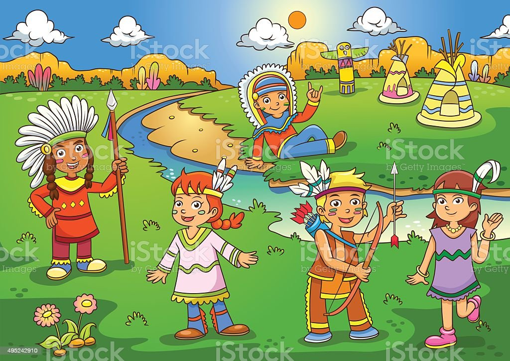 Ilustración De Ilustración De Dibujos Animados De Color Rojo Indio Y