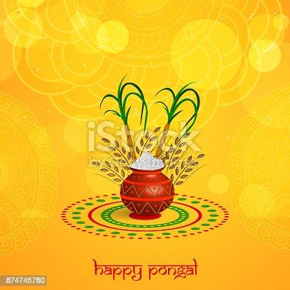 istock illustration of Indian festival Pongal background 874745780