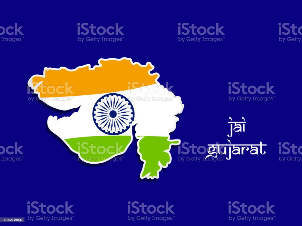 Illustration of indian state gujarat map with jai gujarat text in illustration of indian state gujarat map with jai gujarat text in hindi meaning long live gujarat gumiabroncs Images