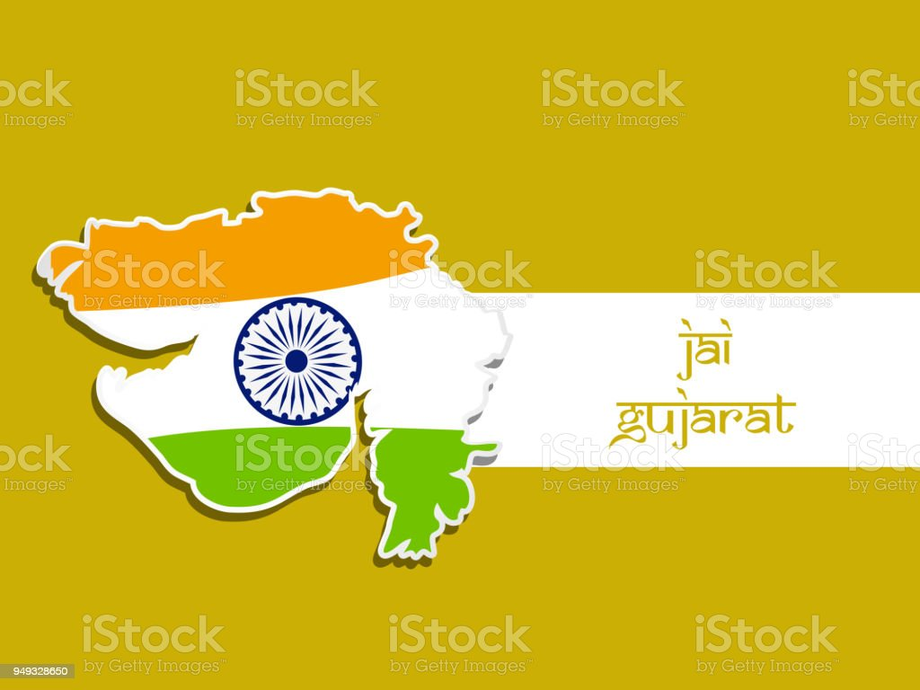 Illustration Of Indian State Gujarat Map With Jai Gujarat Text In