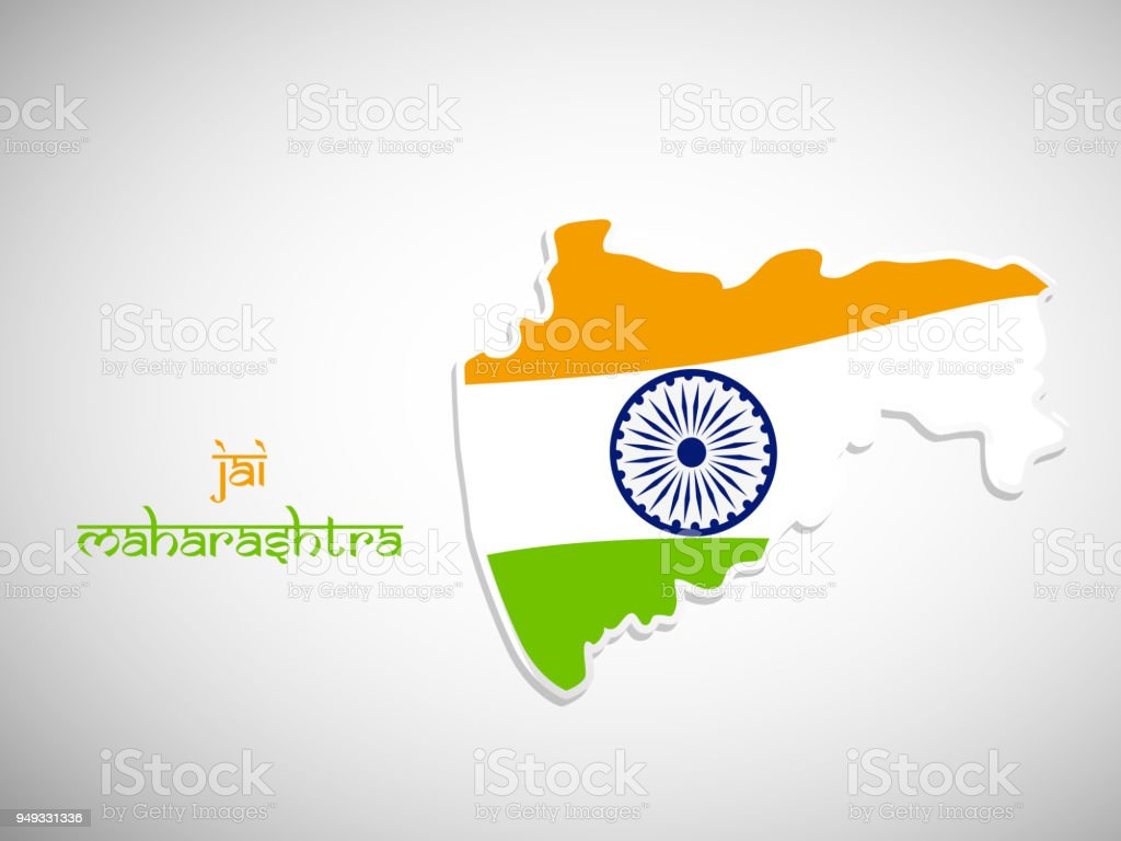 Illustration Of Indian State Maharashtra Map With Hindi Text Jai