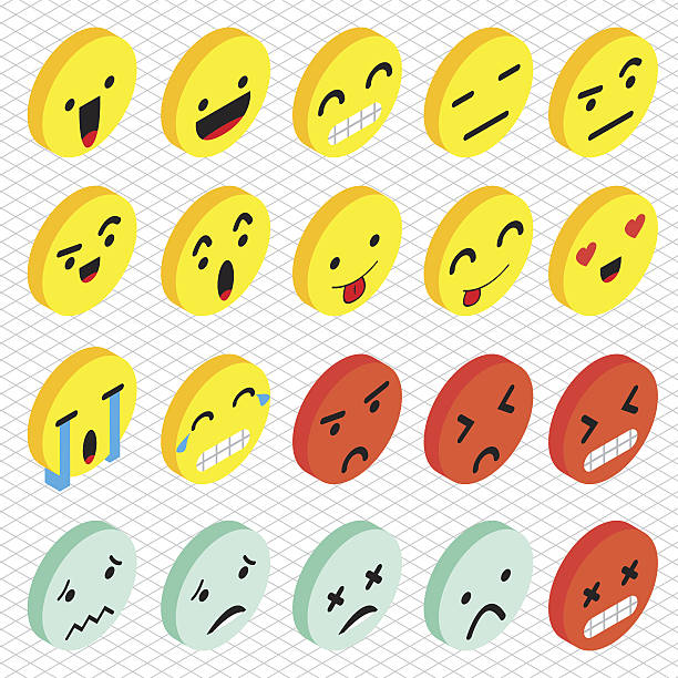illustration of info graphic emoticons icon concept - tears of joy emoji stock illustrations