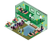 illustration of infographic interior  room concept in isometric graphic