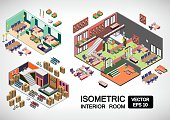 illustration of infographic interior room concept in 3d isometric graphic