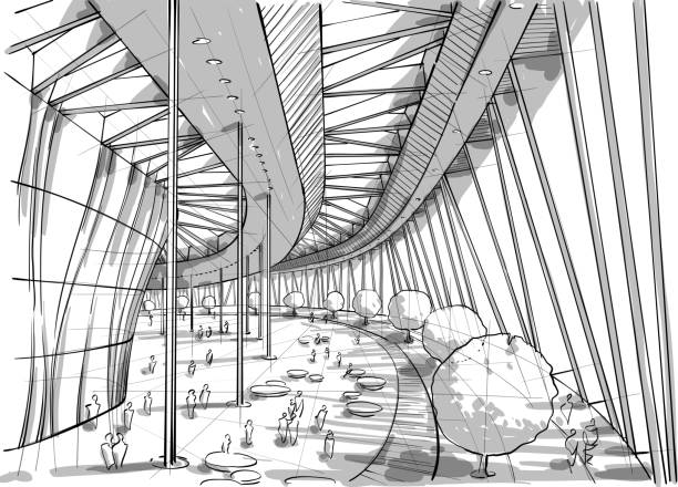 Illustration of interior design Vector illustration of architectural interior design. In the style of drawing. (Ai10 eps with transparency effect) airport drawings stock illustrations