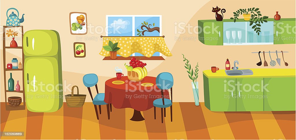 Illustration of interior kitchen and dining room vector art illustration