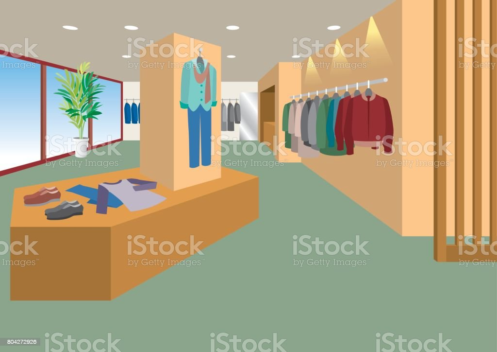 Illustration of interior / Men's clothing store vector art illustration