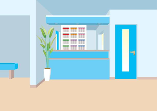 illustration of interior / reception - doctors office stock illustrations, clip art, cartoons, & icons
