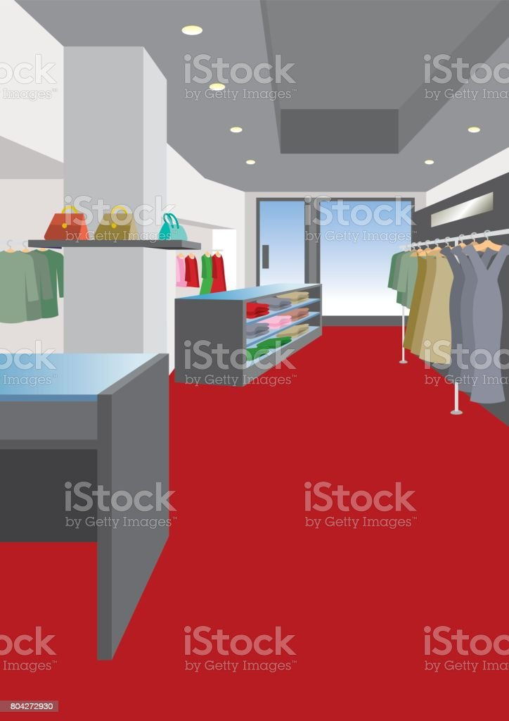 Illustration of interior / Women's clothing store vector art illustration