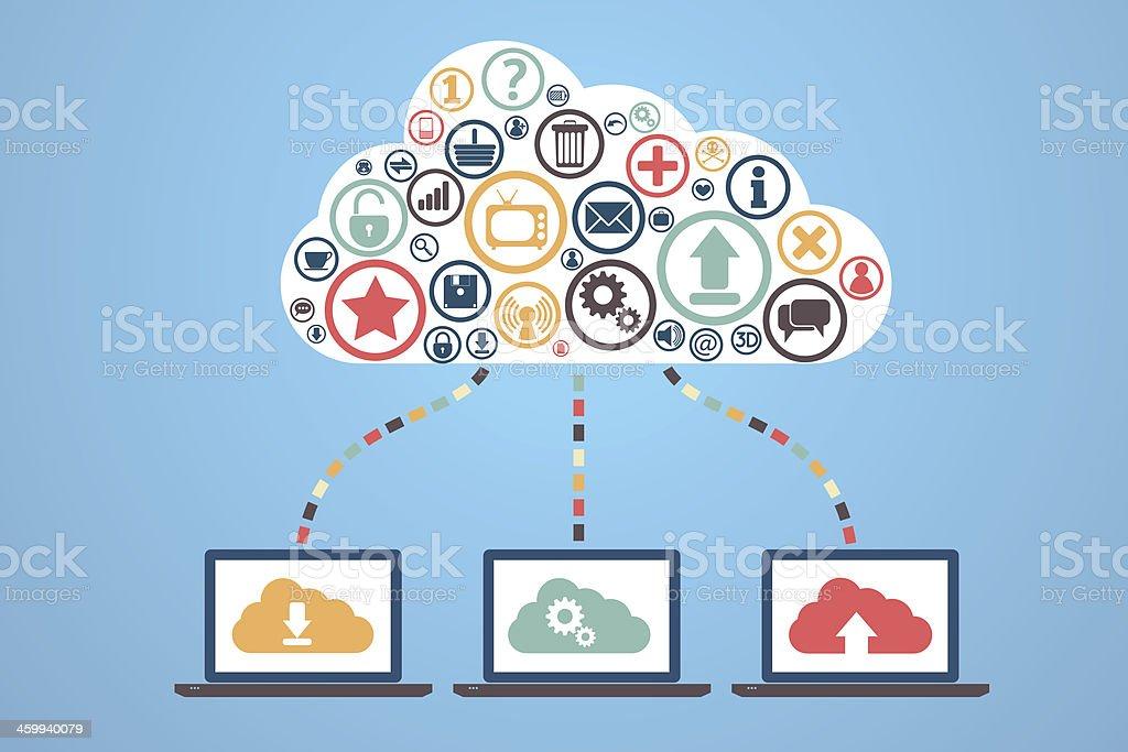 Illustration of Internet cloud storage vector art illustration
