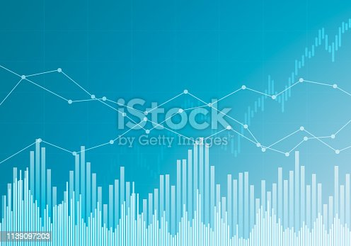 Illustration of investment or business chart on blue background - vector